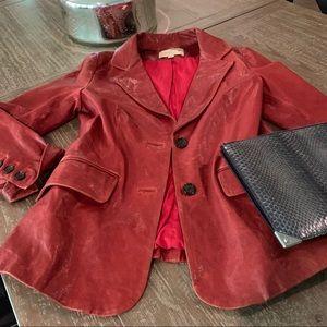 Elizabeth &James Red Leather Distressed Blazer